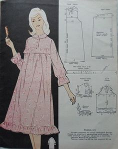 Vintage Dress Patterns, Dress Sewing Patterns, Clothing Patterns, Pajama Pattern, Tunic Pattern, Diy Lace Ribbon Flowers, Patron Vintage, Night Dress For Women, Make Your Own Clothes