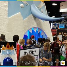 """Our """"Ice King"""" booth for Cartoon Network's cartoon series """"Adventure Time"""" drew in long lines each day of Comic Con. Our booth was over 24 feet tall and wide!  #eventmarketing #exhibit #booth"""