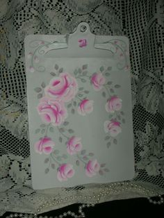 """CLIPBOARD WITH PINK ROSES 9x12.5"""" ej roses shabby chic cottage hand painted cb7 #SAUNDERS #FRENCHCOUNTRY"""