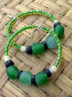 African Green Beaded  Big Hoop Earrings  Bohemian by stoneandbone, $25.95