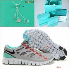 Nike Free Run 2 Grey Tiffany Blue I Love Y Tiffany & CO Necklace