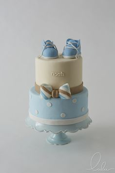 Blue baby shower cake for little boy