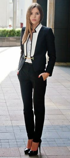 In love with this fashionable business suit. Black & White attire is a must have look.