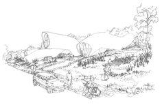 Zespół domów w układzie pasmowo-szeregowym. Projekt: Karolina Chodura, WA Politechniki Śląskiej Diagram, Map, House Architecture, World, Sketch, Home Architecture, Sketch Drawing, Location Map, Sketches