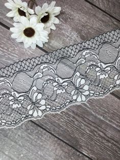 White stretch lace trim with black detailing by the yard | Etsy Lace Trim Shorts, Stretch Lace, Fashion Photo, Stretches, Yard, Shoulder Bag, Pink, Etsy, Black