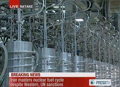 イラン国営プレスTVが放映したナタンツにある核施設の遠心分離器(2012年2月15日撮影、資料写真)。(c)AFP/PRESS TV ▼29May2015AFP|「イランが核兵器開発で北朝鮮と協力」、反体制派組織が報告書 http://www.afpbb.com/articles/-/3050202