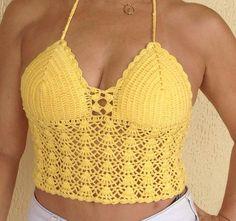 Top de Crochê Amarelo - tamanho M.