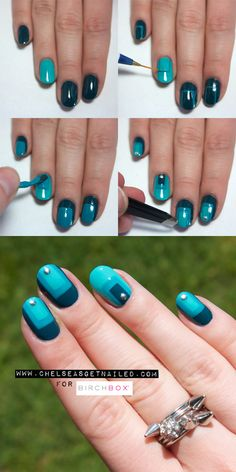 How To: Monochromatic Color Block Nail Art