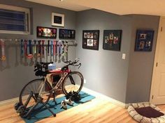 Home bike trainer / spinning space ideas. – My Favorite Workout Room Home, Gym Room At Home, Workout Rooms, Triathlon Gear, Triathlon Training, Ironman Triathlon, Triathlon Checklist, Kids Triathlon, Olympic Triathlon
