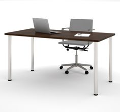 """Modern 60"""" Office Desk with Premium Chocolate Top & Silver Legs"""
