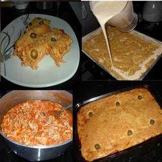 Ingredientes RECHEIO: 500 g de peito de frango sem pele 4 colheres (sopa) de óleo 1/2 litro de caldo de galinha 1 dente de alho amassado 1 cebola picada 3 tomates sem pele e sem