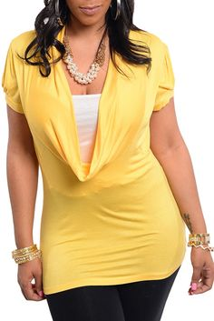 DHStyles Women's Yellow Plus Size Sexy Plunging Drape Neckline Top - 1X #sexytops #clubclothes #sexydresses #fashionablesexydress #sexyshirts #sexyclothes #cocktaildresses #clubwear #cheapsexydresses #clubdresses #cheaptops #partytops #partydress #haltertops #cocktaildresses #partydresses #minidress #nightclubclothes #hotfashion #juniorsclothing #cocktaildress #glamclothing #sexytop #womensclothes #clubbingclothes #juniorsclothes #juniorclothes #trendyclothing #minidresses #sexyclothing…