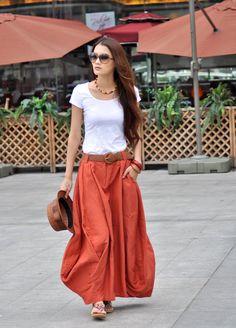 Sexy Deep Orange Linen Bud Long Maxi Skirt by Sophiaclothing