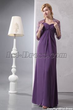 Elegant Sweetheart Chiffon Mother of Groom Party Dress with Lace Jacket:1st-dress.com