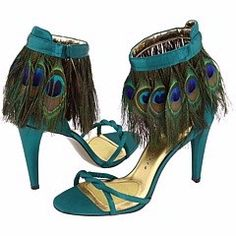 peacock shoes ~ With peacock leg tats, (or tights for the less brave, like me)these would be so cool!