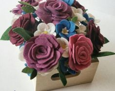 Scatola contenitore di feltro fiore composizioni di thegreyrose