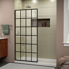 The DreamLine French Linea is a single panel, walk-in shower with a modern industrial touch to complement your shower space. The stylish window pane design and black finish is bold and striking in any