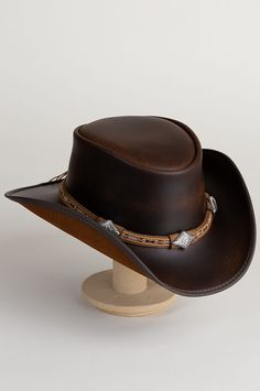 302e432bcd159 Laramie Leather Cowboy Hat with Conchos