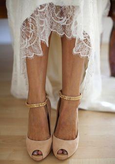 Scarpe da sposa nude color con cinturino glitter