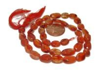 Free shipping.  Natural carnelian oval beads.   Full strand of oval gems.  Beads size around 9x7mm  Strand length - 13 inches.