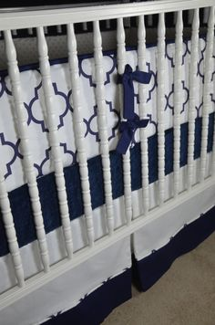 Custom Three Piece Crib Bedding in Navy and by LavenderLinens, $350.00