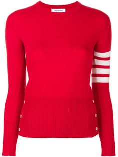 Shop Thom Browne Classic Crewneck Pullover Cashmere with 4-Bar Sleeve Stripe.