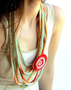 Wet Felted Wool Cord Felt Jewelry with Fabric Flower Accent