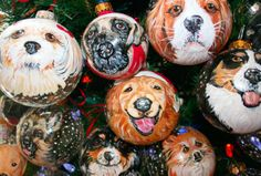 hand painted doggie ornaments....must remember this for the holidays!