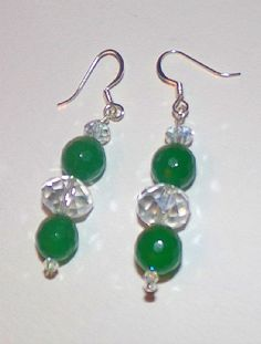 Green Jade and Austrian Crystal Beaded Earrings With Silver Hooks by susansarttreasures on Etsy