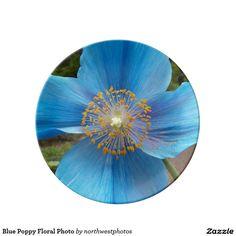 Blue Poppy Floral Photo Dinner Plate