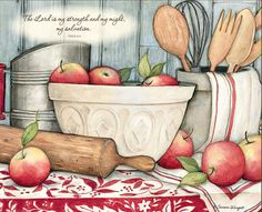Susan Winget / Bountiful Blessings / November 2017 Country Kitchen, Country Art, Country Crafts, Kitchen Art, Kitchen Design, Cookbook Recipes, Pintura Country, Country Paintings, Scripture Art