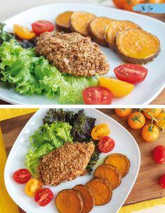Recept z knihy - chrumkavé, pečené fitness rezne s batatmi Healthy Recipes, Healthy Food, Cobb Salad, Fitness, Diet, Health Recipes, Health Foods, Healthy Nutrition, Healthy Foods