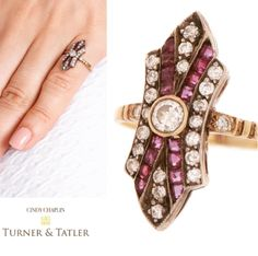 Antique #18karat #gold #oldeuropeancut #diamond and calibre set #ruby #ring available at Turnerandtatler.com
