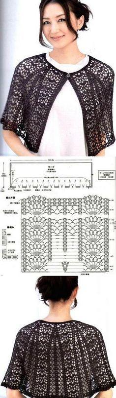 Crochet. Saco negro. Grafico