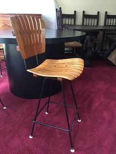 Vintage Mid Century Modern Wood Bar Stool Chair Arthur Umanoff Slat Iron Danish