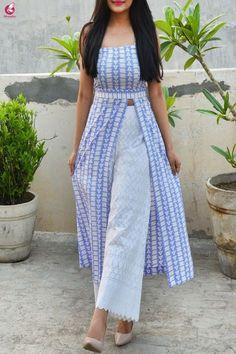 Buy Powder Blue and White Printed Crepe Kurti Online in India Kurta Designs Women, Salwar Designs, New Kurti Designs, Printed Kurti Designs, Simple Kurti Designs, Designs For Dresses, Dress Neck Designs, Kurti Back Neck Designs, Dress Indian Style