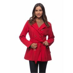 Happy Rainy Days Women's Double-breasted Notched Lapel Short Trench Coat