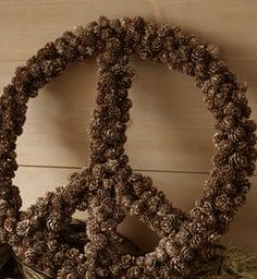 Snowy Pine Cone Peace Wreath 18 in $19