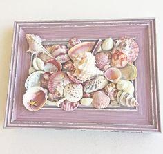 BEACH DECOR SHELL collage in frame framed seashell display