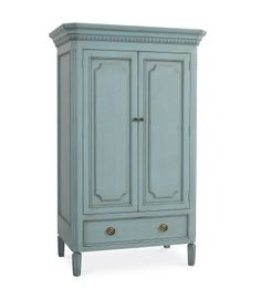 """Swedish Armoire w/2 shelves.  Love the look of painted pieces, especially with """"classic details""""."""