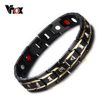 US $9.91 Vnox Health Men Bracelet Bangle 316L Stainless Steel Magnetic Care Jewelry Black Engraved Chinese Buddhism. Aliexpress product