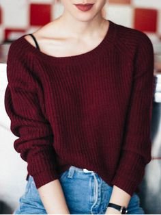 Boat Neck Loose Sweater - WINE RED ONE SIZE