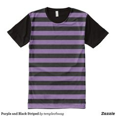 Purple and Black Striped All-Over-Print T-Shirt