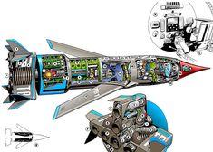 Thunderbird 1, Timeless Series, Thunderbirds Are Go, Classic Cartoon Characters, Technical Illustration, Fantasy Movies, Batman Comics, Batmobile, Sci Fi Art
