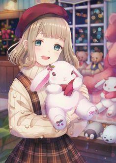 Beautifull girl with cutie bunny toys😍 Loli Kawaii, Kawaii Anime Girl, Kawaii Art, Anime Girls, Pretty Anime Girl, Beautiful Anime Girl, I Love Anime, Manga Anime, Anime Neko