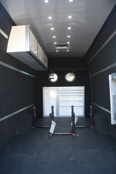 Sprinter Van Motocross Setup 170EX DM Motorcycle Trailer, Bike Trailer, Motorcycle Shop, Cargo Trailers, Sprinter Van Conversion, Camper Van Conversion Diy, Trailer Interior, Van Interior, Vw Syncro