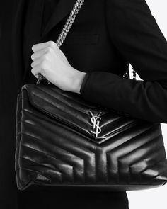 88474bed15c YSL MEDIUM LOULOU MONOGRAM SAINT LAURENT CHAIN BAG IN BLACK