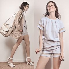 Elle-May Leckenby - Choies White Pointed Heels, Sheinside Powder Blue Two Piece Set, Ava Tote Beige - Ready, set