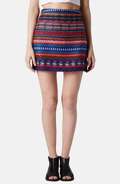 Topshop Patterned A-Line Miniskirt available at #Nordstrom