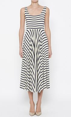 Navy And Cream Dress Thin Striped Dress - I love the way this falls, elongating effect